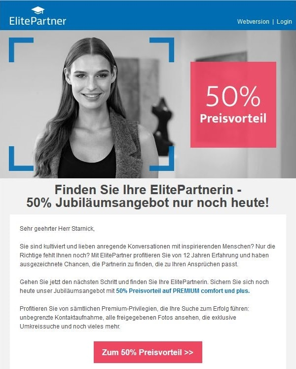 Elitepartner Rabattangebot
